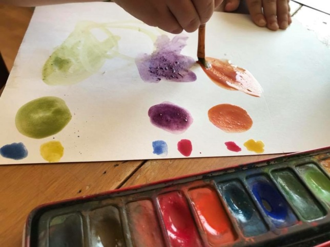 Painting with watercolours at Sarah's One to One sessions
